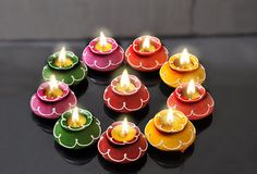 This Diwali decorate your home with these awesome Diwali lights. Buy diyas, candles, tea lights, LED lights, rice lights to brighten up your home for Diwali Diwali Decoration Lights, Thali Decoration Ideas, Diwali Decorations At Home, Diwali Lights, Festival Decorations, Light Decorations, Rangoli Designs Flower, Flower Rangoli, Beautiful Rangoli Designs