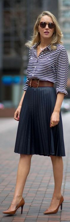 navy pleated midi skirt, striped shirt, cognac accents - The Classy Cubicle Fashion Mode, Office Fashion, Work Fashion, Modest Fashion, Fashion 2017, Skirt Fashion, Street Fashion, Runway Fashion, Womens Fashion