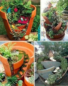 Great Way To Use Broken Pottery, Mini Gardens..way Cute!