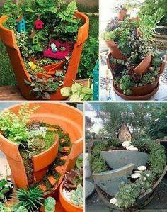 Great way to use broken pottery, mini gardens..way cute!