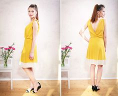 In Sommerlaune .. zauberhaftes & luftiges Trägerkleid aus weich fallendem Jersey in fröhlichem Gelb. Feminin & locker fallend mit einem V-Ausschnitt in Wickeloptik und betonter Taille. Der...