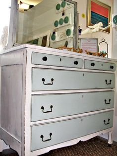 Shabby Chic, Oak Dresser With Mirror, Turquoise & White