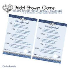 Bridal Shower Game - Cell Phone Game - Denim & Diamonds - Instant Download