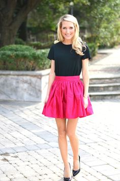 bright pink party skirt