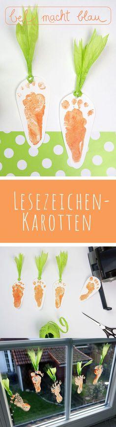 Füßchendruck: Lesezeichen-Karotten // Baby-Fußabdruck // Baby-Footprint carrots // Ideen für Ostern // Happy Easter!
