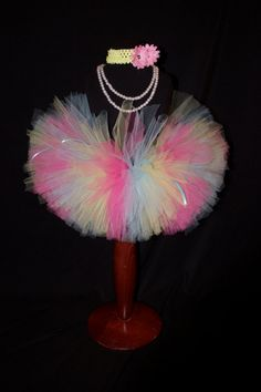 Pink Blue and Yellow Girls Tutu by HarperRaeDesigns on Etsy, $18.00