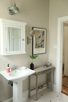 spare bath. wall color: Benjamin Moore Nightingale (25%). trim color: Benjamin Moore Decorators White