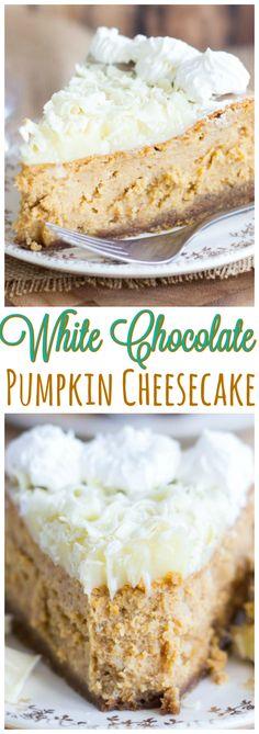 White Chocolate Pumpkin Cheesecake with Gingersnap Crust pin 2
