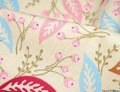 Dancing Leaves on Cream - Korean Cotton Print Fabric - WeaverDee.com