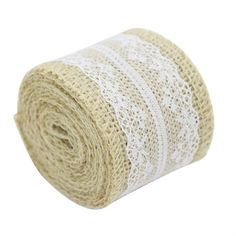 Hourong a Roll Length 2M 5cm Width Lace Natural Burlap Jute Ribbon Roll Vintage Wedding Decoration Event Craft Gift Wrapping