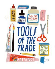 🌟Tante S!fr@ loves this 📌🌟Illustration by Lisa Congdon - Tools of the Trade. Art And Illustration, Art Illustrations, Bulletins, Up Book, Design Graphique, Art Classroom, Grafik Design, Teaching Art, Business Design