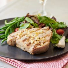 Grilled Yellowfin Tuna with Lemon and Garlic | MyRecipes.com