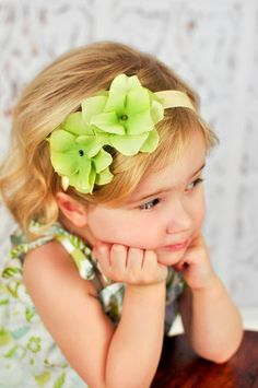 baby headbands  double lime green small flower by AddisonRenee, $8.95