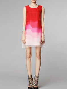 Red Layered Shift Dress - Fashion Clothing, Latest Street Fashion At Abaday.com