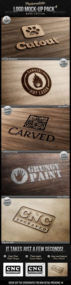 Photorealistic Logo Mock-Up Pack 4 - Wood Edition - GraphicRiver Item for Sale