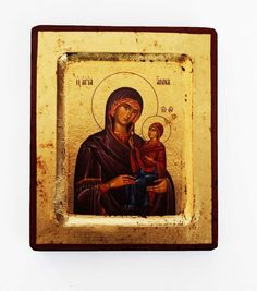 Greek Russian Orthodox Lithography Icon St. Anna the Baptist 12.5x10cm. Size: 12.5x10cm cm 5x4' appx. Holy icon copy of authentic Byzantine art, lithography, worked out by experienced craftsmen on wood with sheets of gold.