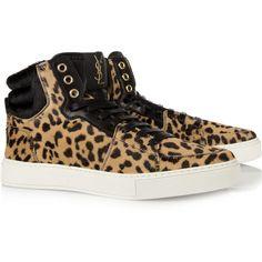 Yves Saint Laurent Malibu leopard-print calf-hair sneakers ($795) ❤ liked on Polyvore
