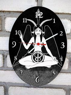 Baphomet Wall oval clock. Occult and gothic decoration.