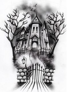 haunted house sketch + brushes by ShizZuro. on haunted house sketch + brushes Halloween Tattoo, Halloween Drawings, Halloween Art, Creepy Drawings, Pencil Art Drawings, Art Drawings Sketches, Sketch Drawing, Haunted House Drawing, Haunted House Tattoo