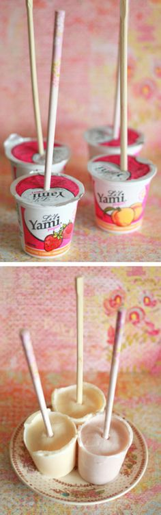 Easiest Yogurt Pops Ever: put a stick in the middle of the container and let freeze