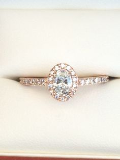 Oval Diamond Halo Engagement Ring in Rose Gold by TheGoldDoc