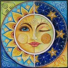 A Different Me Mandala Art, Mandala Drawing, Mandala Design, Sun And Moon Drawings, Arte Tribal, Sun Moon Stars, Creation Deco, Sun Art, Whimsical Art