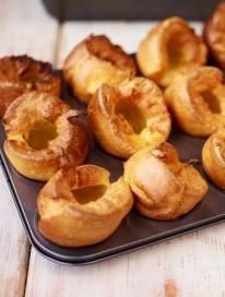 Jamie Oliver's Yorkshire puddings  Next time I'll triple the recipe. Mine came out kinda short, probably the muffin pan is a little large. The batter was a bit thick, I'll thin it out a bit next time.