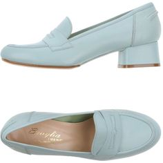 F.lli Bruglia Moccasins ($215) ❤ liked on Polyvore featuring shoes, loafers, sky blue, leather footwear, leather moccasins, square heel shoes, moccasin shoes and leather moccasin shoes