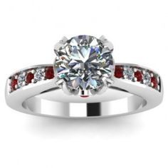 engagement ring gold channel set diamond ruby - Google Search