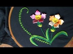 Hand embroidery designs.  Hand embroidery stitches tutorial.  woven picot variation. - YouTube