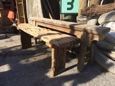 Driftwood benches to horses