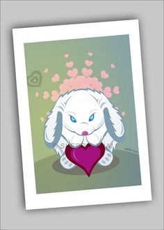 Cute Cartoon Bunny Heart Love Illustration, 5x7 mini art print illustration, by Sherrie Thai of shaireproductions