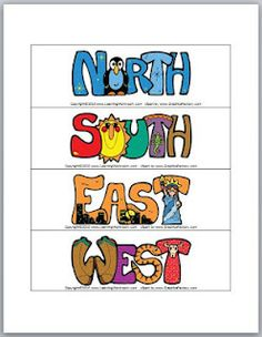 Neat cardinal directions printable - themed, so the letters of NORTH are blue with snowflakes and a penguin, the letters of EAST include a city skyline and the Statue of Liberty, etc.  Great for our states unit.  From Classroom Freebies.