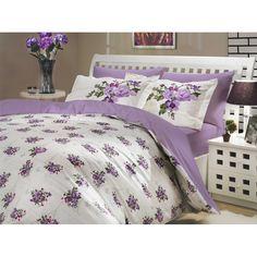 Lenjerie de pat dublu din Bumbac 100% Poplin Paris Spring Lilac Floral Bedding, Poplin, Comforters, Home Improvement, Home And Garden, Home Appliances, Blanket, Interior Design, Bedroom
