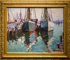 Carl Gustafson (1910-2011)  Gloucester Boats (1975) oil on canvasboard signed  16 x 20 in., very good premium) - Rockport Art Association