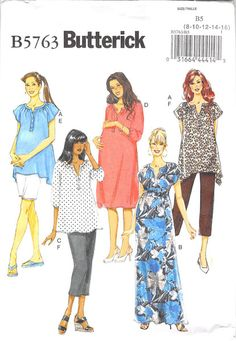 BUTTERICK 5763 - FROM 2012 - UNCUT - MISSES MATERNITY TOP, DRESS, BELT, SHORTS, AND TROUSERS