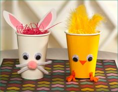 14 Fun Kids' Craft Ideas for Easter -  Yarn eggs, Cotton sheep, Fun Easter rabbit hat, flower straws, feathered friends and more