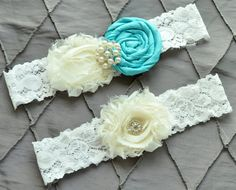 Tiffany Blue Wedding Garter Belt, Bridal Garter Set - Ivory Lace Garter, Keepsake Garter, Toss Garter Rolled Silk Aqua Something Blue Garter