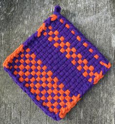 Purple and orange cotton loop pot holder, woven trivet, oven mitt, hot pad, small potholder, home decor, housewarming gift, decor gift by NeverNotWeaving on Etsy