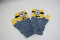 Minions knitted fingerless gloves toddler by sweetygreetings, £3.20