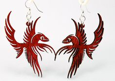 Check out our phoenix jewelry selection for the very best in unique or custom, handmade pieces from our shops. Bird Earrings, Etsy Earrings, Laser Cut Wood, Laser Cutting, Phoenix Jewelry, Phoenix Bird, Jewelry Tree, Green Trees, Ancient Romans