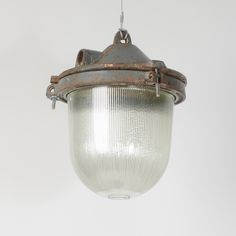 Trainspotters.co.uk - salvaged industrial polish pendant light original finish