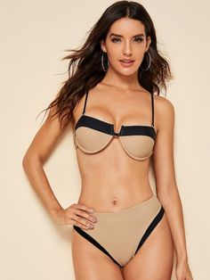 Contrast Binding Top With High Waist Bikini Set Bikini Swimwear, Bikini Set, Swimsuits, Bikini Ready, Summer Bikinis, Beachwear For Women, Monokini, Fashion News, Contrast