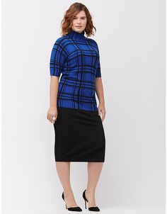 Windowpane short sleeve turtleneck by Lane Bryant | Lane Bryant