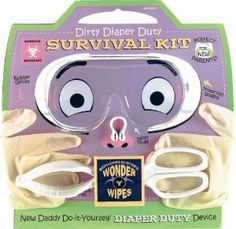 New Parent Survival Kit by AMSCAN. $11.52. 5-pc  novelty. Includes all the new baby essentials with a fun twist. Cute new dad gift idea. This fun Diaper kit is perfect for the Daddy to Be! Fun Kit includes all the necessary items the new daddy will need to survive his first diaper change. Survival Kit includes rubber gloves, protective goggles, no-touch tongs, nose plugs and biohazard buster's wonder wipes.