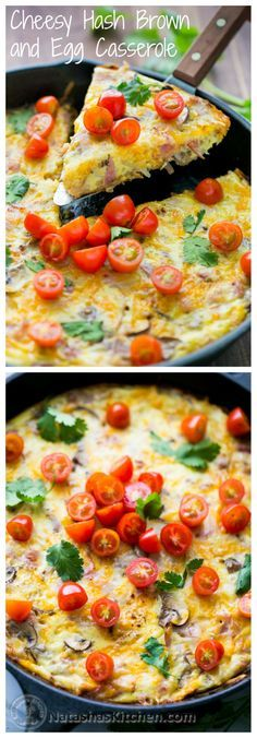 Cheesy Hash Brown and Egg Casserole. Easy one-pan breakfast for your family or guests!
