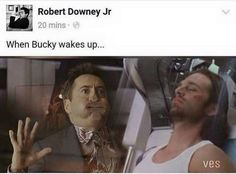 When bucky wakes up (RDJ posted this on his Facebook!)