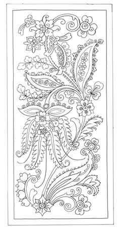 Vintage Trick or Treat Halloween Embroidery Pattern by Meg Hawkey From Crabapple Hill Studio - Embroidery Design Guide Jacobean Embroidery, Floral Embroidery Patterns, Crewel Embroidery, Hand Embroidery Designs, Indian Embroidery, Colouring Pages, Adult Coloring Pages, Coloring Books, Bordado Popular