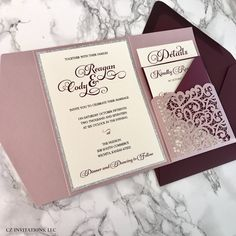We love this Laser Cut Pocket Wedding Invitation! The Laser Cut Design is beautiful and elegant with the Misty Rose and Burgundy colors. Paired with silver glitter to accent the unique color combination. Click to order your semi-custom wedding invitations!