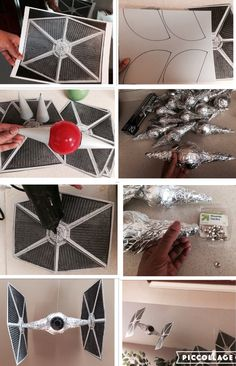 DIY Tie Fighters Star Wars Christmas Decorations, Star Wars Christmas Tree, Star Wars Birthday, Star Wars Party, Star Wars Crafts, Star Wars Halloween, Star Wars Room, Star Wars Wedding, Star Wars Costumes
